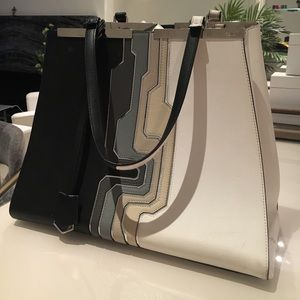 Fendi Circuit 3Jours Trapeze Tote Bag Black White